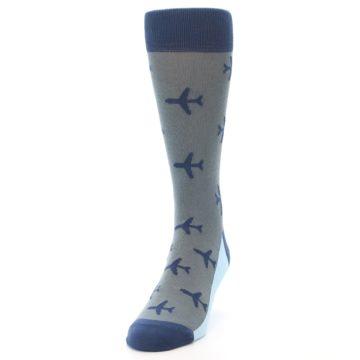 Image of Gray Navy Airplane Aviation Pilot Men's Dress Socks (side-2-front-06)
