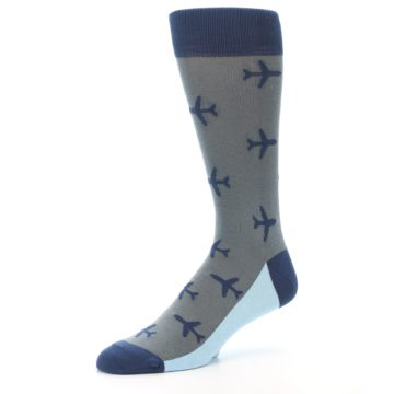 Image of Gray Navy Airplane Aviation Pilot Men's Dress Socks (side-2-09)