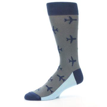 Image of Gray Navy Airplane Aviation Pilot Men's Dress Socks (side-2-10)