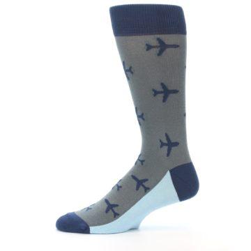 Image of Gray Navy Airplane Aviation Pilot Men's Dress Socks (side-2-11)