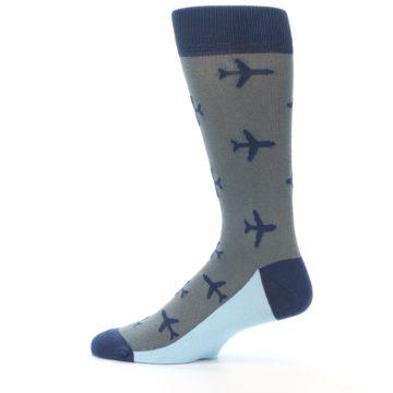 Image of Gray Navy Airplane Aviation Pilot Men's Dress Socks (side-2-12)