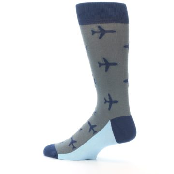 Image of Gray Navy Airplane Aviation Pilot Men's Dress Socks (side-2-13)
