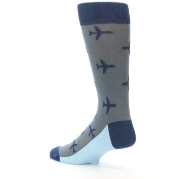 Image of Gray Navy Airplane Aviation Pilot Men's Dress Socks (side-2-back-14)