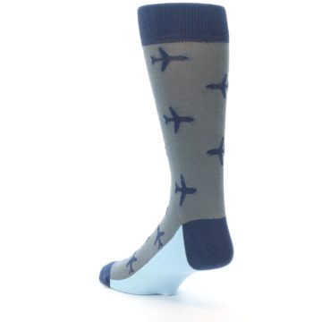 Image of Gray Navy Airplane Aviation Pilot Men's Dress Socks (side-2-back-15)