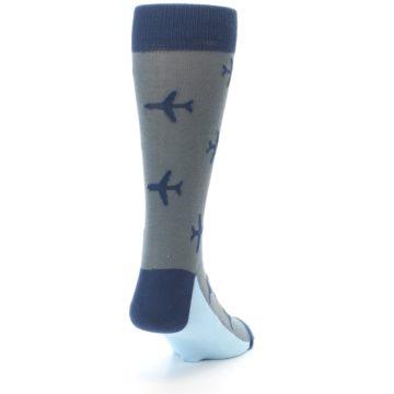 Image of Gray Navy Airplane Aviation Pilot Men's Dress Socks (side-1-back-20)