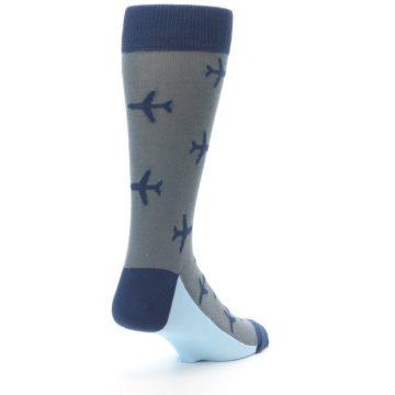 Image of Gray Navy Airplane Aviation Pilot Men's Dress Socks (side-1-back-21)