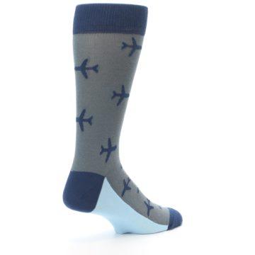 Image of Gray Navy Airplane Aviation Pilot Men's Dress Socks (side-1-back-22)