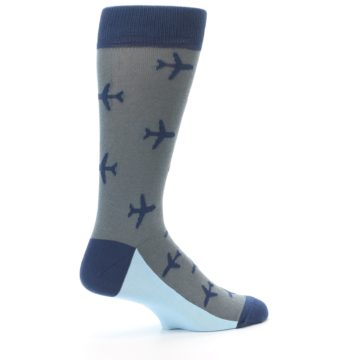 Image of Gray Navy Airplane Aviation Pilot Men's Dress Socks (side-1-23)