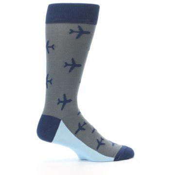 Image of Gray Navy Airplane Aviation Pilot Men's Dress Socks (side-1-24)