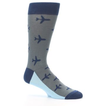 Image of Gray Navy Airplane Aviation Pilot Men's Dress Socks (side-1-25)