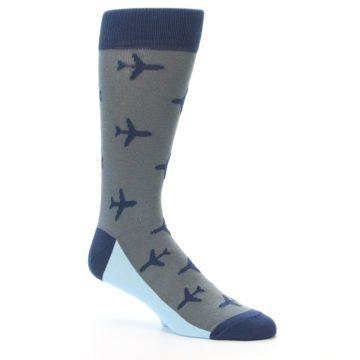 Image of Gray Navy Airplane Aviation Pilot Men's Dress Socks (side-1-26)