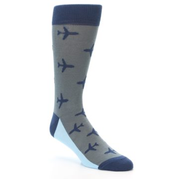 Image of Gray Navy Airplane Aviation Pilot Men's Dress Socks (side-1-27)