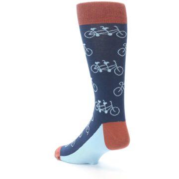 Image of Navy Marsala Tandem Bicycle Men's Dress Socks (side-2-back-15)