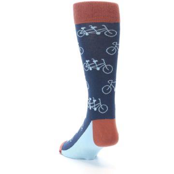 Image of Navy Marsala Tandem Bicycle Men's Dress Socks (side-2-back-16)