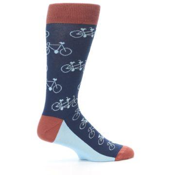 Image of Navy Marsala Tandem Bicycle Men's Dress Socks (side-1-24)