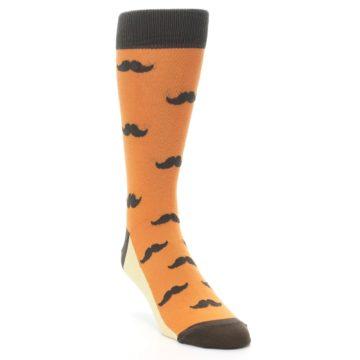Image of Orange Brown Mustache Men's Dress Socks (side-1-front-02)