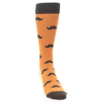 Image of Orange Brown Mustache Men's Dress Socks (side-1-front-03)