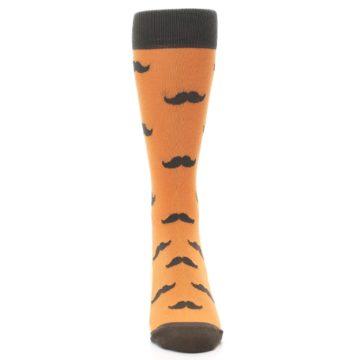 Image of Orange Brown Mustache Men's Dress Socks (front-04)