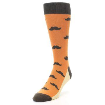 Image of Orange Brown Mustache Men's Dress Socks (side-2-front-07)