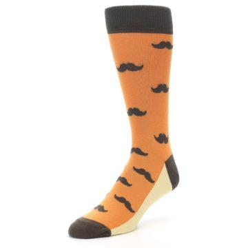 Image of Orange Brown Mustache Men's Dress Socks (side-2-front-08)