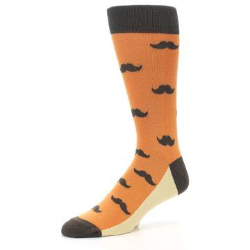 Image of Orange Brown Mustache Men's Dress Socks (side-2-09)
