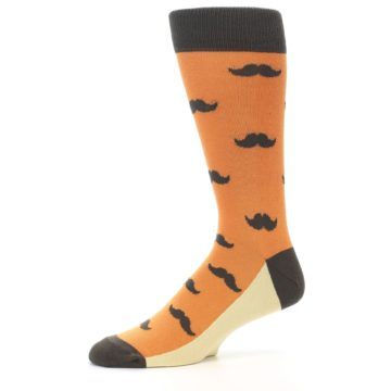 Image of Orange Brown Mustache Men's Dress Socks (side-2-10)