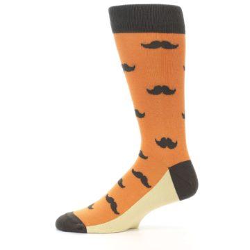 Image of Orange Brown Mustache Men's Dress Socks (side-2-11)