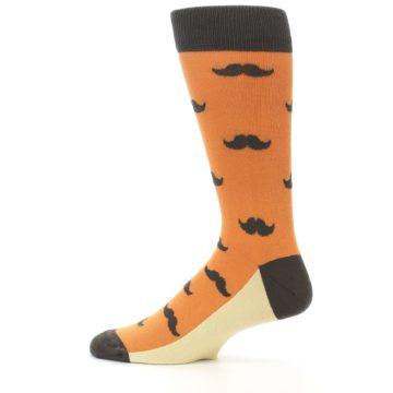 Image of Orange Brown Mustache Men's Dress Socks (side-2-12)