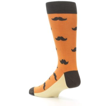 Image of Orange Brown Mustache Men's Dress Socks (side-2-back-14)