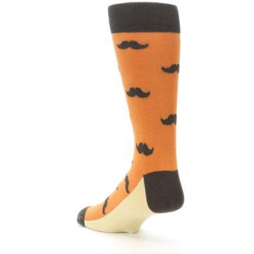 Image of Orange Brown Mustache Men's Dress Socks (side-2-back-15)