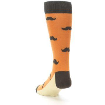 Image of Orange Brown Mustache Men's Dress Socks (side-2-back-16)