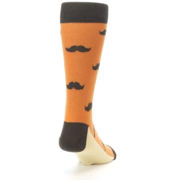 Image of Orange Brown Mustache Men's Dress Socks (side-1-back-20)
