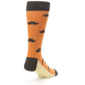 Image of Orange Brown Mustache Men's Dress Socks (side-1-back-21)