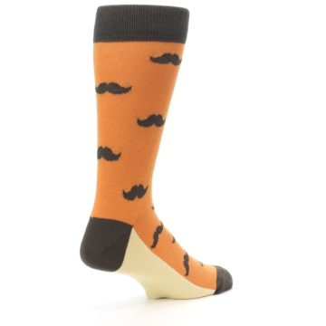 Image of Orange Brown Mustache Men's Dress Socks (side-1-back-22)