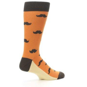 Image of Orange Brown Mustache Men's Dress Socks (side-1-23)