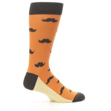 Image of Orange Brown Mustache Men's Dress Socks (side-1-24)