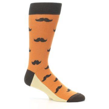 Image of Orange Brown Mustache Men's Dress Socks (side-1-25)