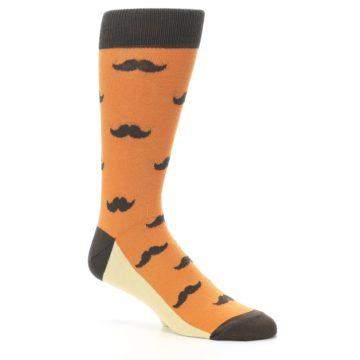 Image of Orange Brown Mustache Men's Dress Socks (side-1-26)