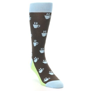 Image of Brown Light Blue Coffee Cup Men's Dress Socks (side-1-front-02)
