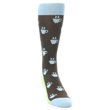 Image of Brown Light Blue Coffee Cup Men's Dress Socks (side-1-front-03)
