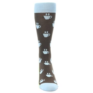 Image of Brown Light Blue Coffee Cup Men's Dress Socks (front-04)