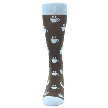 Image of Brown Light Blue Coffee Cup Men's Dress Socks (front-05)