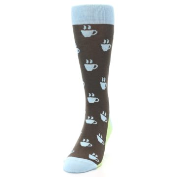 Image of Brown Light Blue Coffee Cup Men's Dress Socks (side-2-front-06)