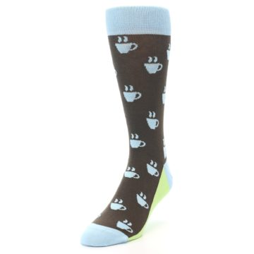 Image of Brown Light Blue Coffee Cup Men's Dress Socks (side-2-front-07)