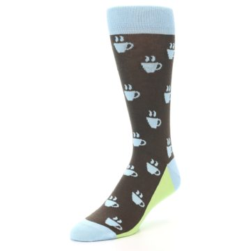 Image of Brown Light Blue Coffee Cup Men's Dress Socks (side-2-front-08)