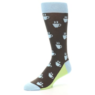 Image of Brown Light Blue Coffee Cup Men's Dress Socks (side-2-09)