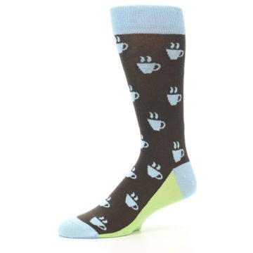 Image of Brown Light Blue Coffee Cup Men's Dress Socks (side-2-10)