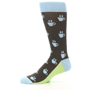Image of Brown Light Blue Coffee Cup Men's Dress Socks (side-2-11)