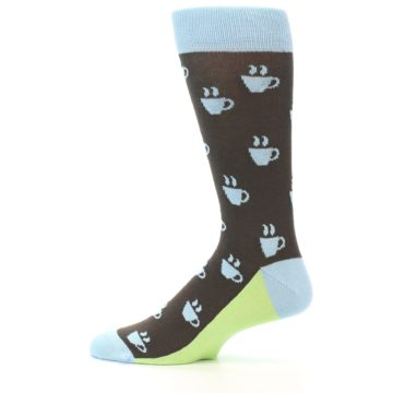 Image of Brown Light Blue Coffee Cup Men's Dress Socks (side-2-12)