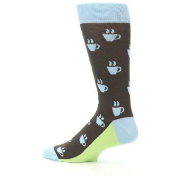 Image of Brown Light Blue Coffee Cup Men's Dress Socks (side-2-13)